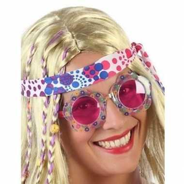 Carnavalskleding carnavalaccessoires hippie bril roze volwassenen hel