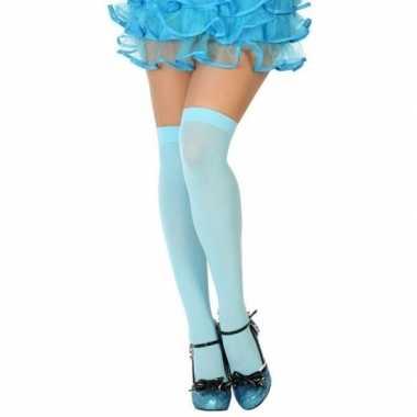 Carnavalskleding carnavalaccessoires kousen lichtblauw dames helmond