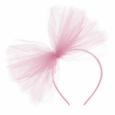 Carnavalskleding carnavalaccessoires roze haarband tule strik helmond