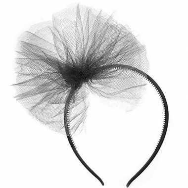 Carnavalskleding carnavalaccessoires zwarte haarband tule strik helmo