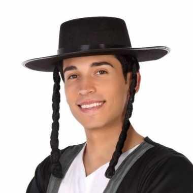 Carnavalskleding carnavalaccessoires zwarte joodse hoed heren helmond
