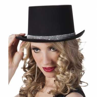 Carnavalskleding carnavalshoed zwart zilveren steentjes dames helmond