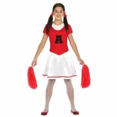 Carnavalskleding cheerleader kinder verkleedjurkje rood/wit helmond