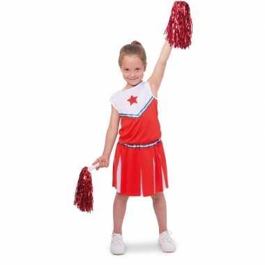 Carnavalskleding cheerleader kinder verkleedset rood/wit helmond