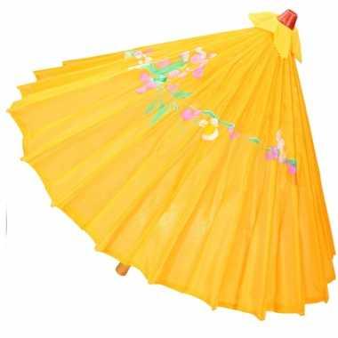 Carnavalskleding chinese paraplu oranje/geel helmond
