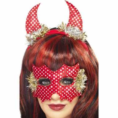 Carnavalskleding  Compleet duivel setje rood helmond