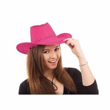 Carnavalskleding cowboy hoed roze kleur helmond