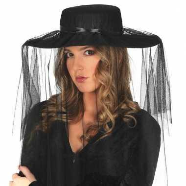 Carnavalskleding dames hoeden sluier zwart helmond