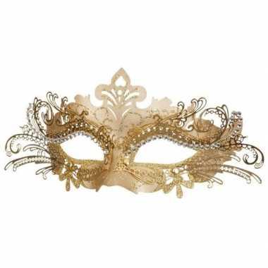 Carnavalskleding dames oogmasker venetie goud helmond