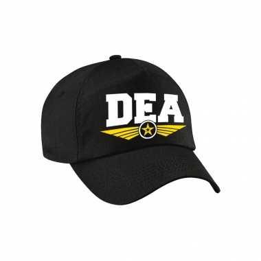 Carnavalskleding dea agent tekst pet / baseball cap zwart kinderen helmond