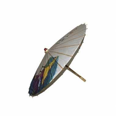 Carnavalskleding decoratie paraplu japanse tekens helmond