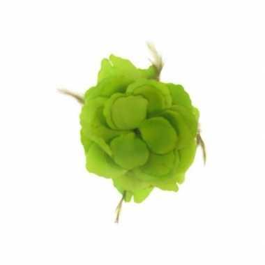 Carnavalskleding decoratiebloem elastiek groen xcm helmond