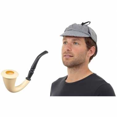 Carnavalskleding detective accessoires setje pijp pet helmond