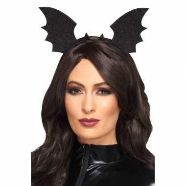 Carnavalskleding diadeem vleermuis vleugels zwart volwassenen helmond
