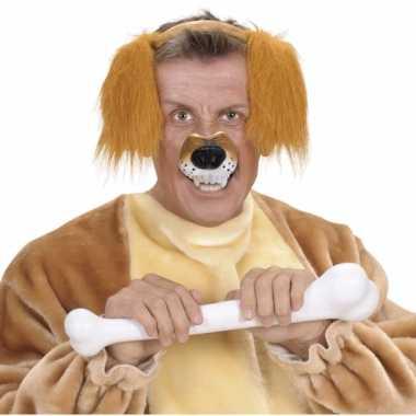 Carnavalskleding dieren neus hond helmond