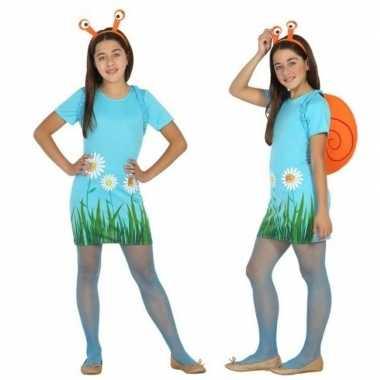 Carnavalskleding dieren verkleed jurk/jurkje slak/slakken meisjes hel