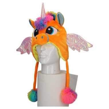 Carnavalskleding dierenmuts eenhoorn kinderen oranje helmond