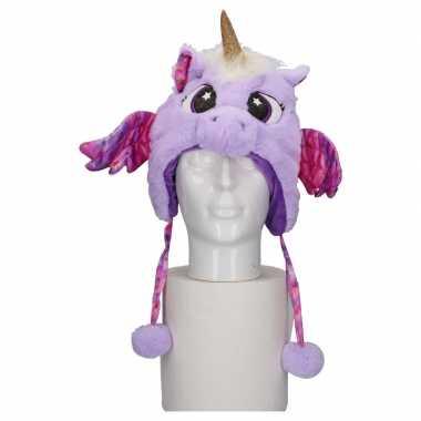 Carnavalskleding dierenmuts eenhoorn kinderen paars helmond