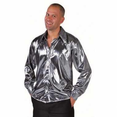 Carnavalskleding disco blouse zilver heren helmond