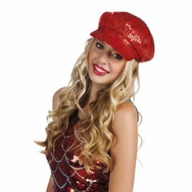 Carnavalskleding disco hoed rode pailletten helmond