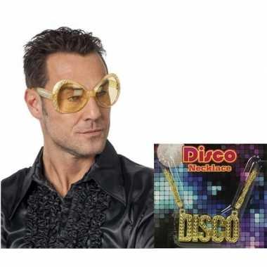 Carnavalskleding disco verkleedsetje gouden bril disco ketting helmon