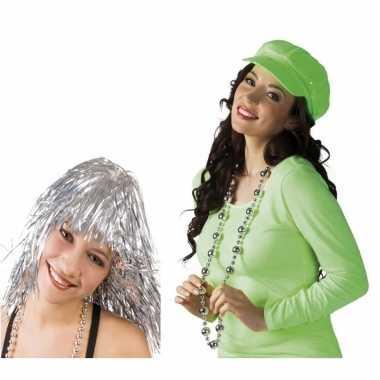 Carnavalskleding disco verkleedsetje zilver dames helmond