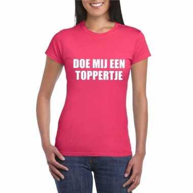 Carnavalskleding doe mij een toppertje shirt roze dames helmond