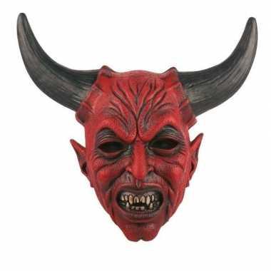 Carnavalskleding duivel hoorns masker latex helmond