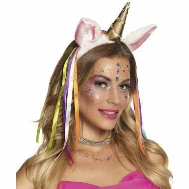 Carnavalskleding eenhoorns diadeem/tiara gekleurde lintjes helmond