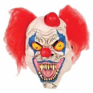 Carnavalskleding enge clown masker hoedje helmond