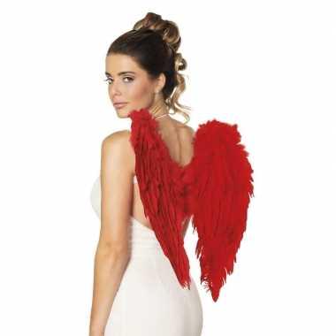 Carnavalskleding engelen vleugels rood helmond