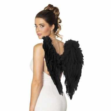 Carnavalskleding engelen vleugels zwart helmond