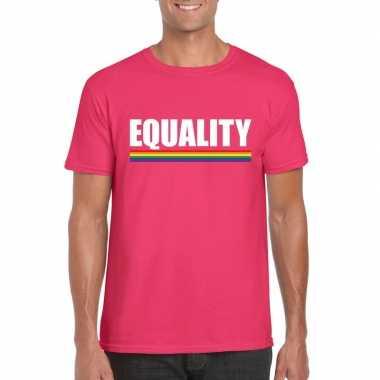 Carnavalskleding equality shirt roze regenboog vlag heren helmond