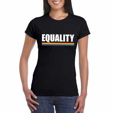 Carnavalskleding equality shirt zwart regenboog vlag dames helmond
