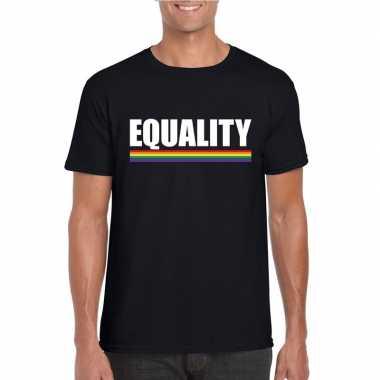 Carnavalskleding equality shirt zwart regenboog vlag heren helmond