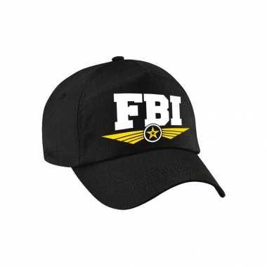 Carnavalskleding fbi agent tekst pet / baseball cap zwart kinderen helmond