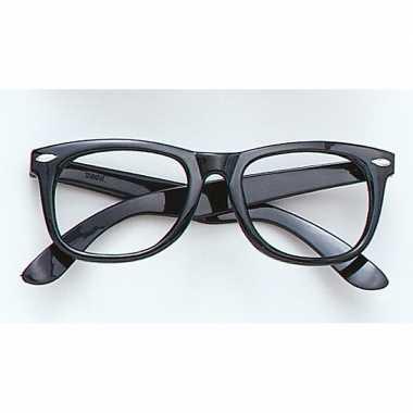Carnavalskleding feest bril zonder glazen zwart helmond