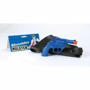 Carnavalskleding feest detective revolver pistool blauw schouder holster helmond