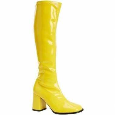Carnavalskleding feest gogo laarzen geel blokhak dames helmond