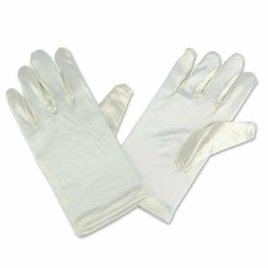 Carnavalskleding feest handschoenen gebroken wit satijn kinderen helmond