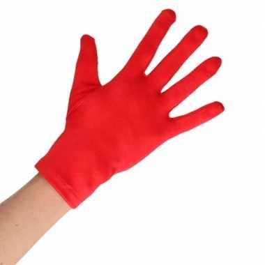 Carnavalskleding feest handschoenen rood kort volwassenen helmond