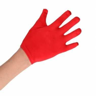 Carnavalskleding feest handschoenen rood satijn kinderen helmond