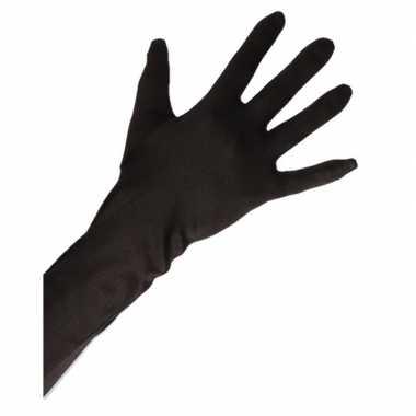 Carnavalskleding feest handschoenen satijn zwart lang volwassenen helmond