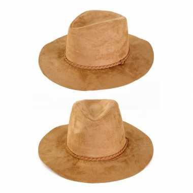 Carnavalskleding feest indiana hoed cowboy beige volwassenen helmond
