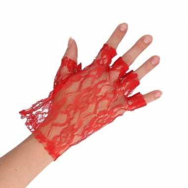 Carnavalskleding feest kanten handschoenen rood dames helmond