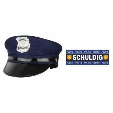 Carnavalskleding feest politie set blauwe pet schuldig sticker volwas