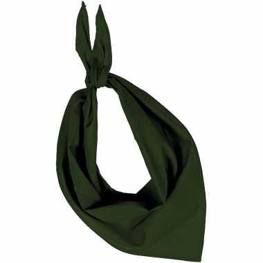 Carnavalskleding feest/verkleed olijf groene bandana zakdoek volwasse
