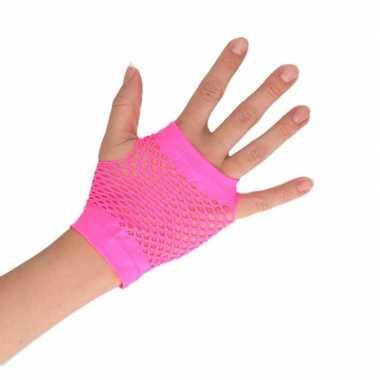 Carnavalskleding feest visnet handschoenen roze kort volwassenen helmond