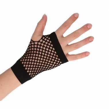Carnavalskleding feest visnet handschoenen zwart kort volwassenen helmond
