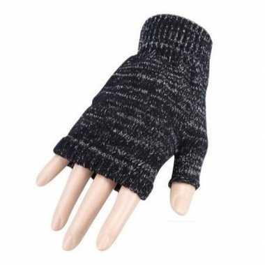Carnavalskleding feestartikelen gebreide vingerloze polsjes handschoenen grijs volwassenen helmond